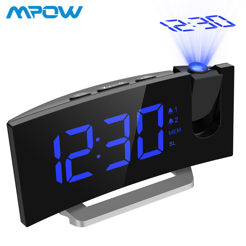 MPOW LED FM Projection Clock 2 Alarms Multifunctional Curved Screen 5 Levels Display Brightness 4 Adjustable