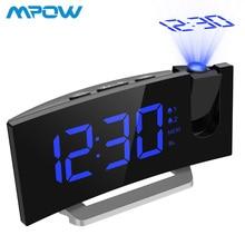 MPOW светодиодный FM проекционный часы 2 будильника Многофункциональный изогнутый экран 5 уровней яркость дисплея 4 регулируемый звуковой сигнал тревоги звуков Wekker