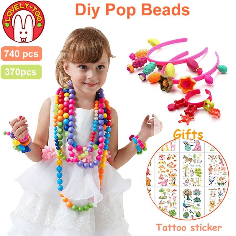 740pcs Pop Beads Diy Set Girl Toys 5 7 Creative Crafts Bracelet Kids Bracelets Bead Jewelry Kit Educational Toys For Children