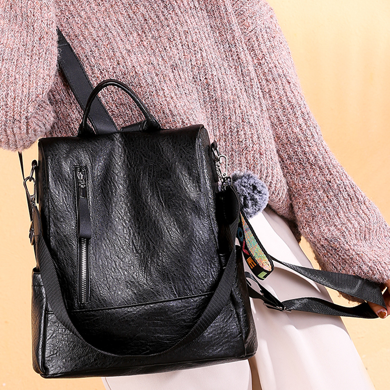 Ladies Casual Backpack Popular Joker Pu Leather Waterproof Long Shoulder Strap Backpack Business Elegant Girl Brand  Work Bag
