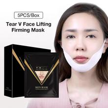 5PCS Original Protein V Line Mask Neck Face Lifting Chin Up Patch Double Reducer Contour Tightening Firming Moisturizi