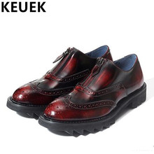 British style Brogue Shoes Genuine leather Men Flats Fashion Carved Shoes Vintage Male Oxford shoes Free shipping 03
