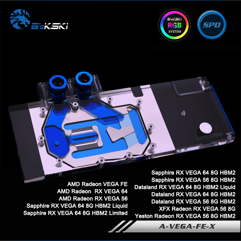 Bykski A-VEGA-FE-X Full Cover Graphics Card Water Cooling Block RGB/RBW/AURA for Founder Edition VEGA, Sapphire/XFX/Dataland 4pin mgt8012yr w20 graphics card fan vga cooler for xfx gts250 gs 250x ydf5 gts260 video card cooling