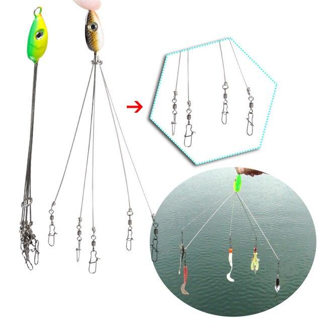 1 pc 5 זרועות אסדת דיג פתיונות בס חבית מסתובב מטריית כושונים פיתיונות מלאכותיים מזויף דגי פתיונות דוג להתמודד עם שילוב