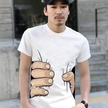 2018 Men Summer O Neck Short sleeve T-shirt Mens 3D big hand print Black White Cotton T shirts Tops Fashion Casual Tee Shirt