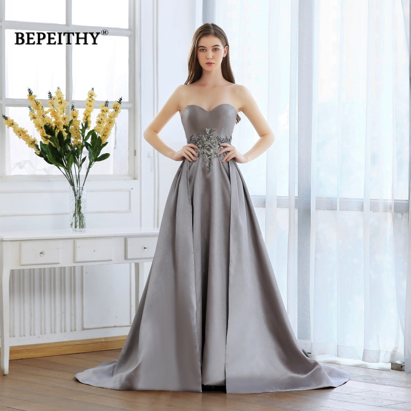 BEPEITHY 2019 Sweetheart Robe De Soiree Long Evening Dress Lace Beaded Waist Prom Gown Abiye Gece Elbisesi Vinatge