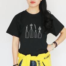 2019 camiseta Casual de verano para mujer camisetas de algodón para mujer Vintage jarrón con adorno floral estampado negro blanco camiseta Z6310