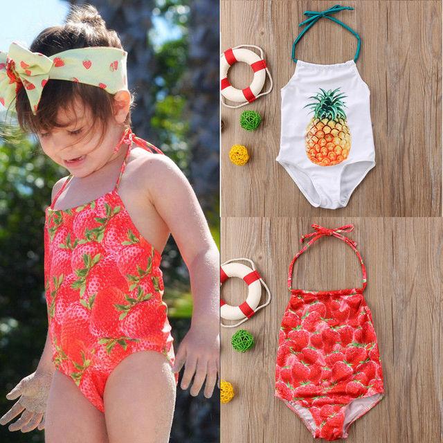 97dbba9a712f3 Baby Girls Swimsuits 2018 New Strawberry Pineapple Swimwear One Piece Swimsuit  Kids Bikini Bathing Suit Beachwear Halter Bikinis