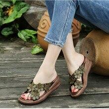 النساء خف جلدي 6 سنتيمتر عالية الكعب حذاء بكعب ويدج الصيف 2019 زهرة النعال النساء أحذية من الجلد الحقيقي نمط الرجعية عادية