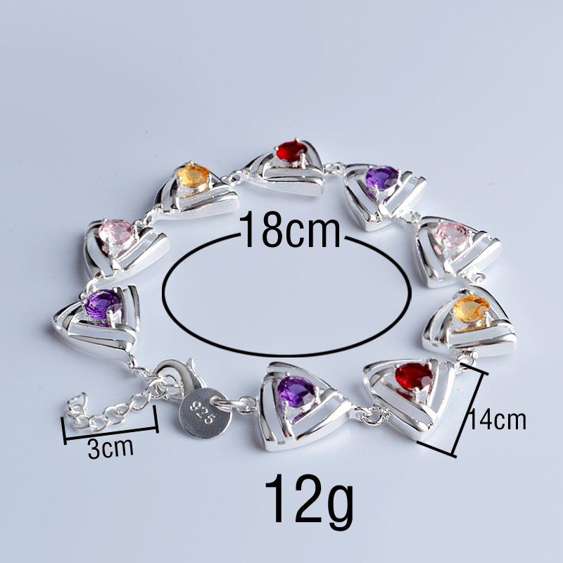 Hollowed out Triangle inlay Multicolor CZ Bracelet Bangles For Women Silver Plated Cuff Jewelry Gift Dropshipping in Chain Link Bracelets from Jewelry Accessories