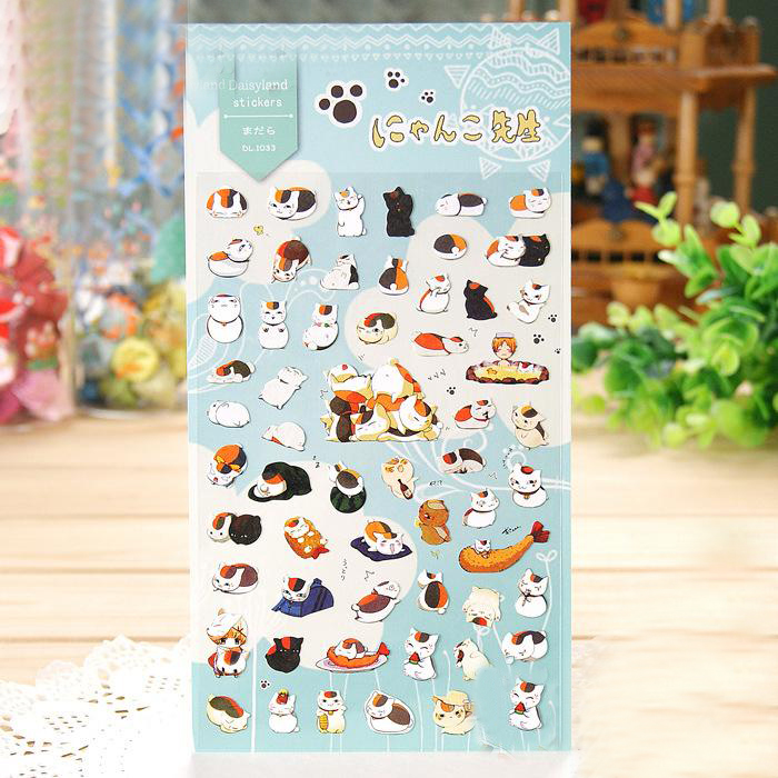 1Sheet New Cat Teacher Natsume Friends Account Account Journal Decoration Hand Print Sti ...