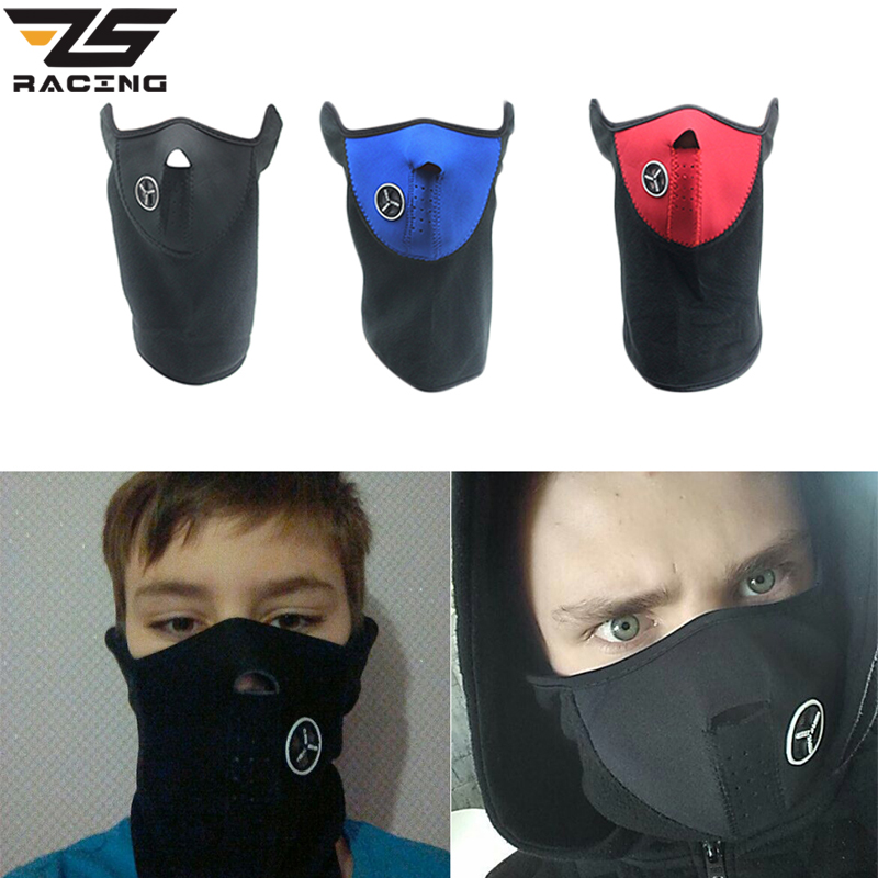 ZS Racing Motorcycle Half Face Mask Cover Fleece Unisex Ski Snow Moto Cycling Warm Winter Neck Guard Scarf Warm Protecting Mask unisex winter warm fleece full face mask head cover neck warmer scarf hat ski cycling motorcycle balaclava caps outdoor sports