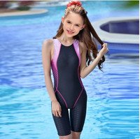 Girl's Waterproof Bathing Suit Sports Racing Swimwear Children Training Racing Cloth Professional Sport Competition Swimsuits