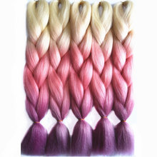 Full Star 1pcs Pink Purple Blonde Hair for Russian Women High Temperature Fiber Colorful Straight Crochet Braid Synthetic Hair