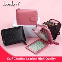Genuine Leather Card Holder Zipper Organ Card Bag Large Capacity Men Driver's License wallet for credit cards Candy Color