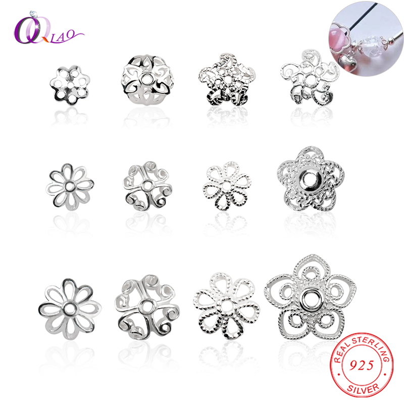 Best Quality 5-8mm A Pair 925 Sterling Silver Flower Bead Caps End Loose Beads For Necklace&bracelet Jewelry Making Findings