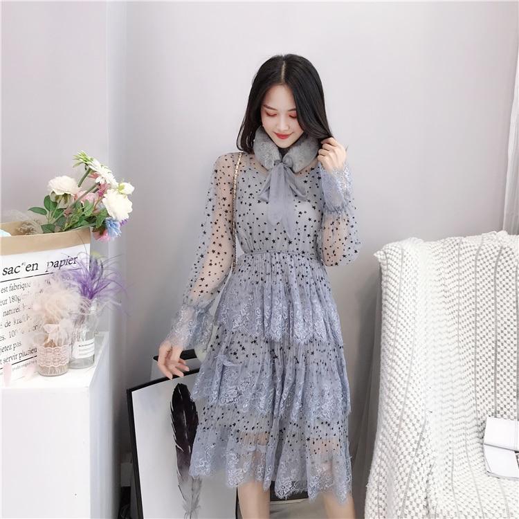 ALPHALMODA 2019 Spring Fur Collar Sweet Bow Stars Print Long-sleeved Multi-layer Women Princess Chiffon Dress + Sling 2pcs Set 10