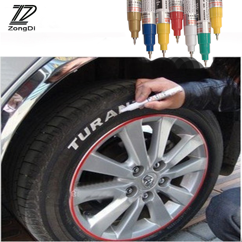 ZD Car Tyre Tread Permanent Paint Markers Depict Decal Pen For Ford Focus 2 3 1 Fiesta Mondeo Ranger Kuga Seat Leon Ibiza Lexus