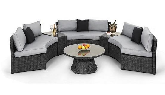 2017 Trade Urance Rattan Half Moon Curved Corner Sofa Set Outdoor Garden Furniture