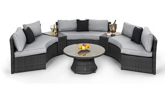 2017 Trade Urance Rattan Half Moon Curved Corner Sofa Set Outdoor Garden Furniture