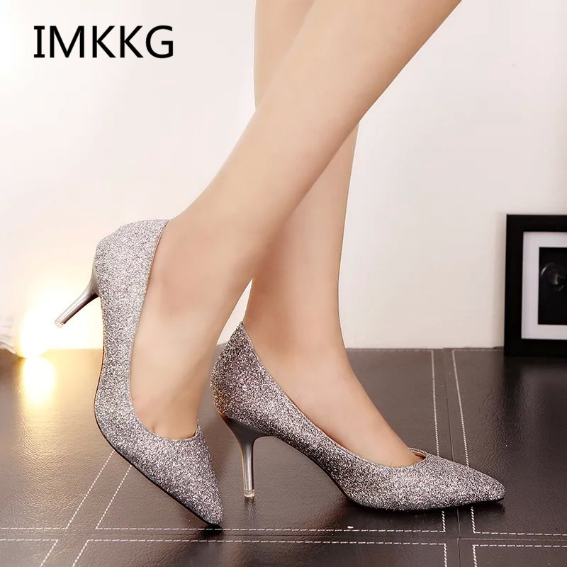 Women Wedding Shoes Silver Gold Dress Shoes Pointed Toe Woman Sequined Cloth  High heels Glitter Pumps 70e5b661c94d