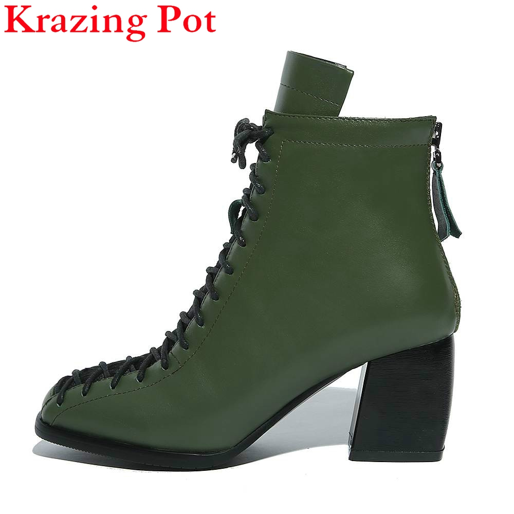 2017 Brand Winter Shoes Fashion Square Toe Lace-up Genuine Leather Solid Nude Women Ankle Boots Thick Heel Shoes Causal Boot L74 sfzb new square toe lace up genuine leather solid nude women ankle boots thick heel brand women shoes causal motorcycles boot