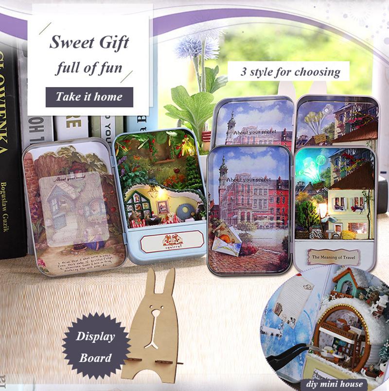 Snow Holiday 3D Wooden DIY Handmade Box Secret Dollhouse Miniature Box Cute Mini Doll House Assemble Kits Gift Toys (2)