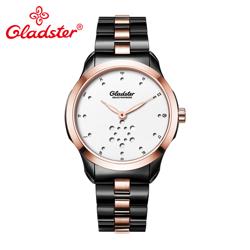 Gladster Luxury Brand Fashion Quartz Man Watch Super Luminous Analog Men Wristwatch Waterproof Golden Stainless Steel Male Clock v6 super speed v0231 men s fashionable stainless steel casing analog quartz watch 1 x lr626