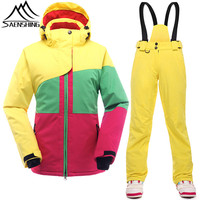 SAENSHING Ski Suit for Women Winter Ski Suits for Girls Waterproof Thermal Womens Snowboarding Snow Suits Patchwork Clothes