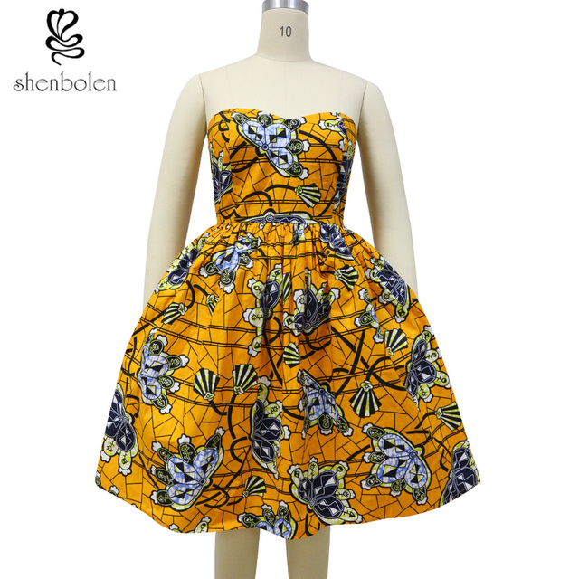 African Dresses For Women Dashiki Clothing Batik Print Tube top ...
