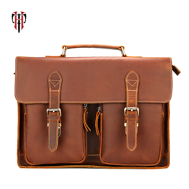 5fdc1cdad9 TIANHOO Genuine leather men bags vintage crazy horse leather briefcase hand  satchels 14 inch laptop   smartphone pocket bags