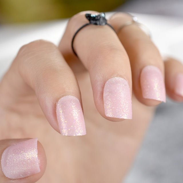 Light Pink Natural Uv Acrylic Nails Short Full Cover Round Fake Artificial Art Tips Lady