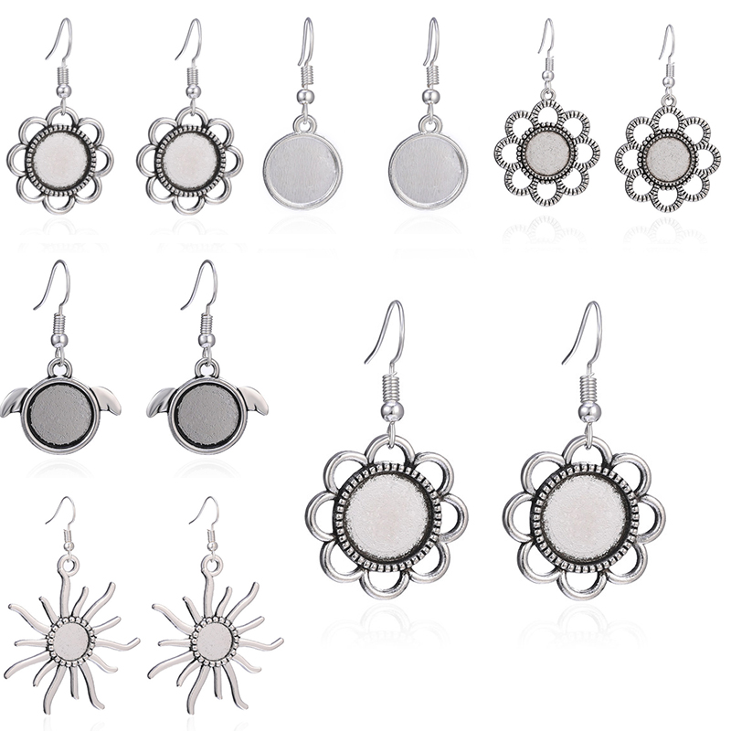 10pcs/5 Pairs Antique Silver Dangle Earrings Hooks Fit 12mm Round Shape Glass Cabochon Base Setting For Women Jewelry DIY Making