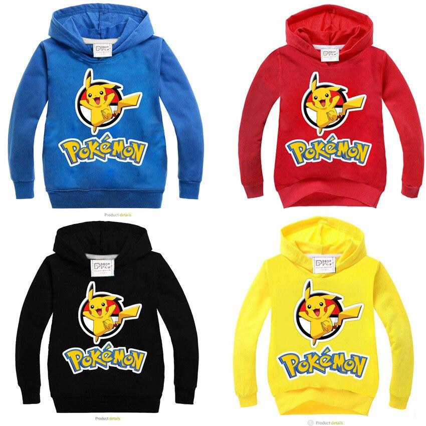 3-10 Years Old POKEMON GO Sweatshirts Girls Boy Cotton Boys Sweatshirt Kids Long Sleeve Shirts New Autumn Children's Sweatshirt kitty family cropped long sleeve sweatshirt