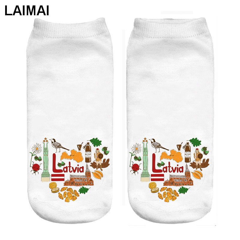 RUNNING CHICK Latvia Love 3D Print Tattoo Socks Wholesale