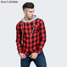 Men Plaid Casual Shirts Long Sleeve Hooded Slim Cotton Fit Styles Brand Man Clothes Plus Size Autumn Warm Tops