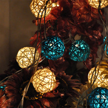 20Leds Rattan Ball String Fairy Lights For Christmas Xmas Wedding Decoration Party Garden Party Holiday Christmas Indoor Outdoor