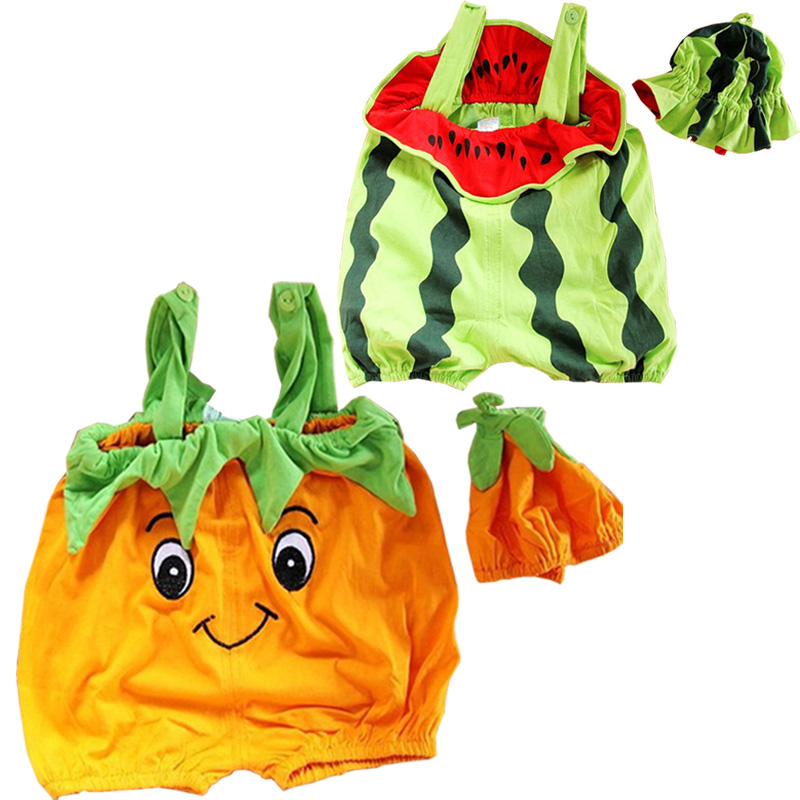 Baby Newborn Baby Photography Props Infant Costume Cute Fruit Watermelon Pumpkin Jumpsuit+Hat 2pcs Cotton Infant Baby's Sets baby cook costume photo photography prop white newborn hat aprons