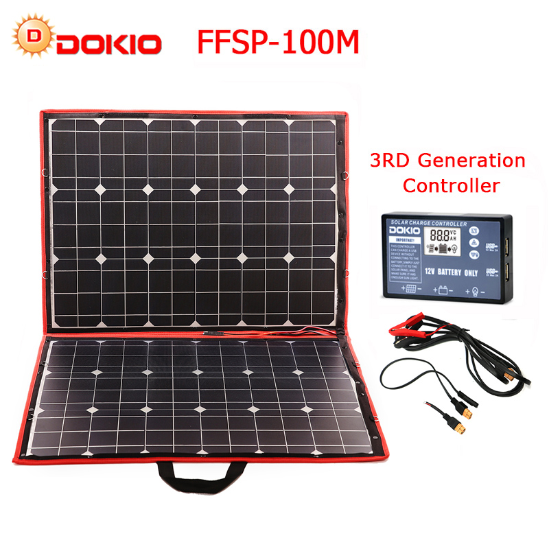 Dokio 100w (50W x 2 pièces) panneau solaire Mono pliable Flexible pour voyage et bateau et RV panneau solaire Portable de haute qualité chine