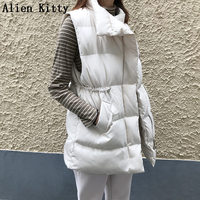 Alien Kitty Autumn Winter High Quality Slim Sleeveless Stylish Cotton Vests Solid Warm Comfortable Elegant All Match 3 Colors