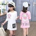 Primavera/Outono Longo T-shirt Das Meninas Bonito Moda Princesa Roupas Anos de Idade As Crianças Meninas T-shirt Branco/Rosa Hoodies