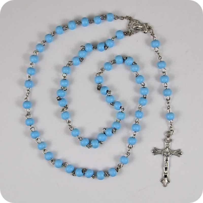 Azul Contas de Madeira Rosário Crucifixo INRI JESUS Cruz Colar Pingente Santíssima Virgem Maria Religiosa Católica