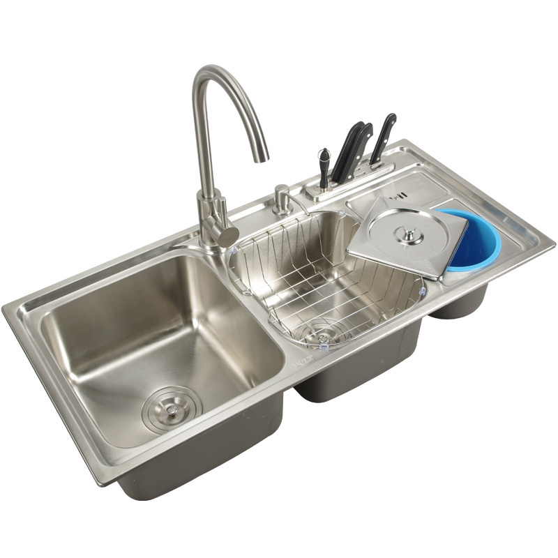 Kitchen sink stainless steel double bowl above counter or ...