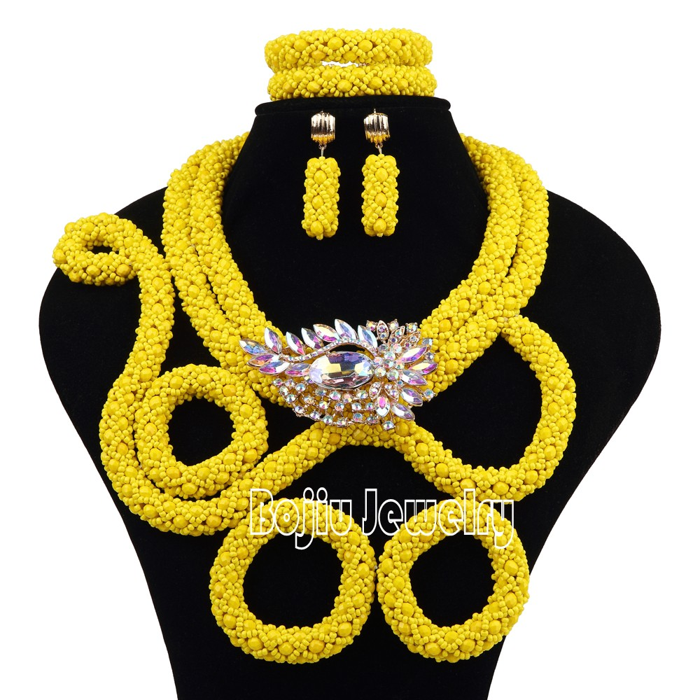 Personalize Chunky Yellow African Beads Jewelry Sets Gold Nigerian Wedding Special Design Bead Jewelry Set Free Shipping SET 74
