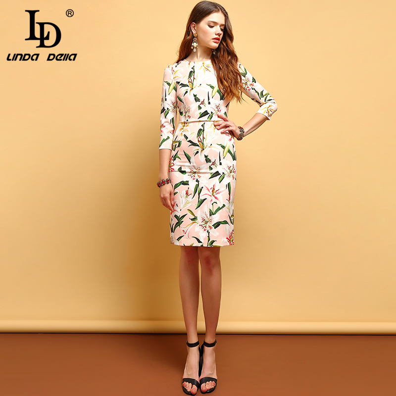 Ld linda della 패션 여름 드레스 여성의 우아한 백합 꽃 인쇄 수집 허리 빈티지 휴가 숙녀 라인 드레스-에서드레스부터 여성 의류 의  그룹 3