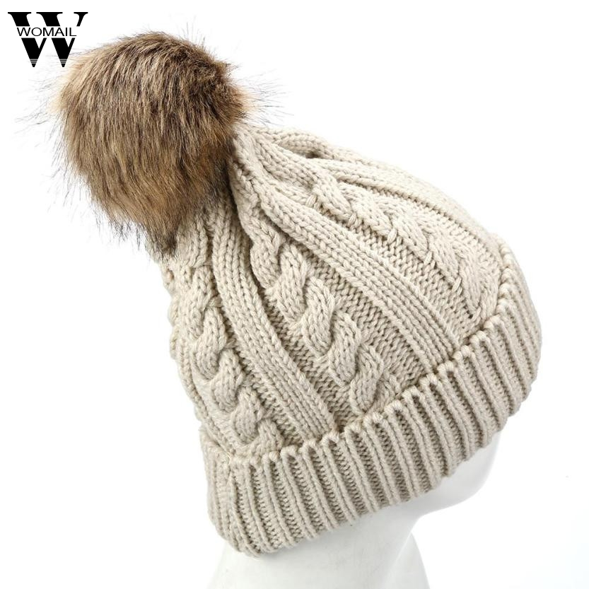 Warm Winter hat for Women Knitted Beanies Faxu Fur Pompon Cap gorros mujer invierno Amazing