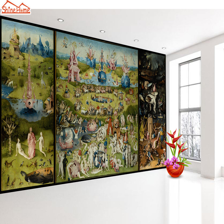 ShineHome-Famous Oil Painting Garden of Earthly Delights 3d Photo Wallpaper Rolls for Walls 3 d Livingroom Wallpapers Mural Roll shinehome nature banana leaf wallpaper 3d photo wallpaper rolls for walls 3 d livingroom wallpapers mural roll paper background