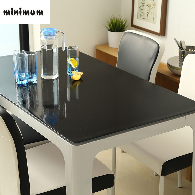 1mm waterproof oil proof plastic PVC tablecloth soft glass tablecloth fashion pvc table linens black non-slip table mat cover ...