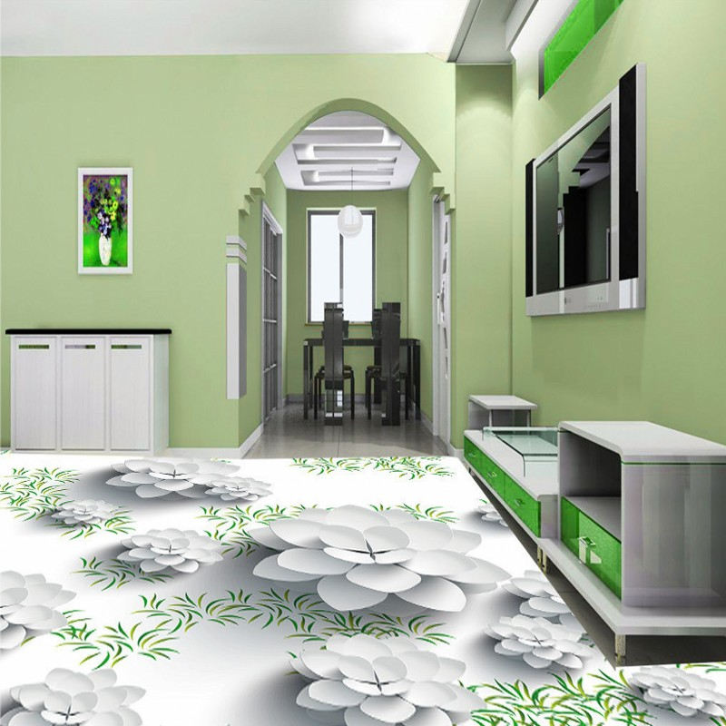 Free Shipping Fresh flowers 3D floor painting wear non-slip thickened floor wallpaper mural self-adhesive living room bathroom