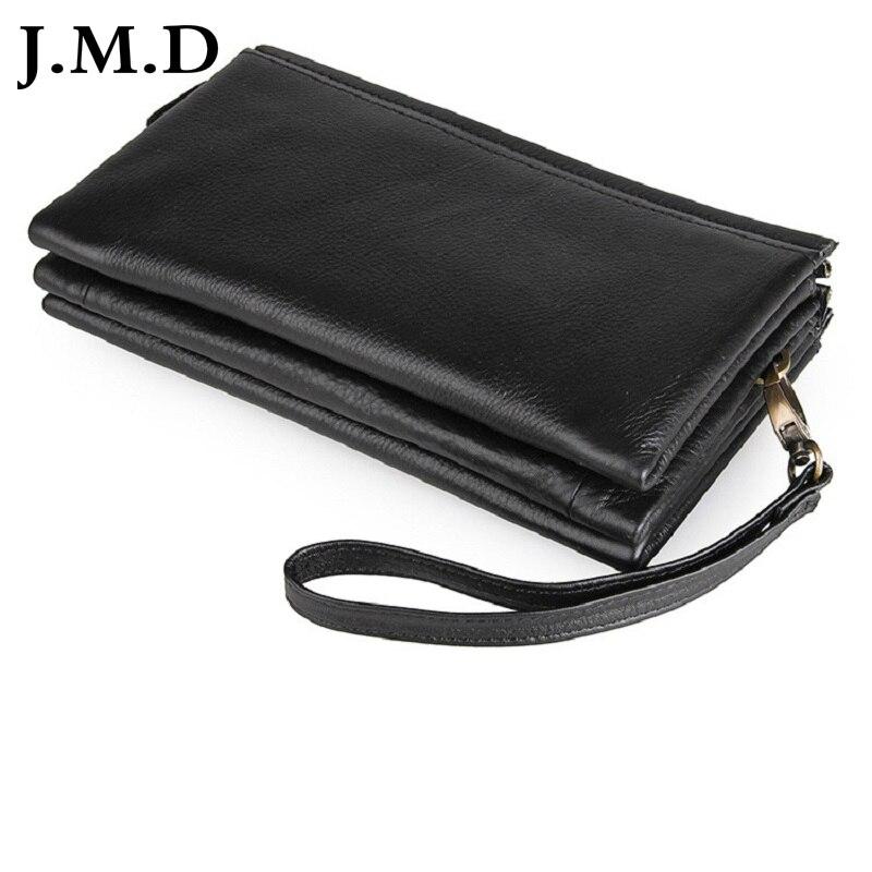 J.M.D 2017 New Arrival 100% Leather Wallet Classical Black Wallet Purse Men's Hand Bag 8071